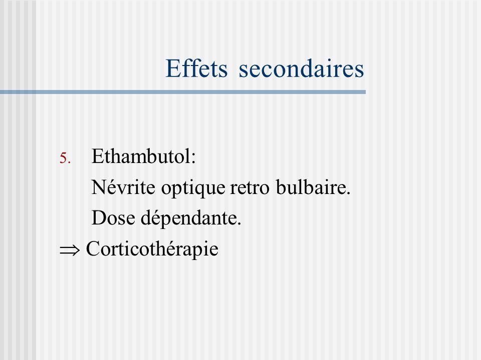 Effets secondaires 3. Pyrazinamide: Hépatite. Hyperuricémie arthralgies. Goutte. 4. Streptomycine. Toxicité vestibulo-cochléaire Engourdissement, pico