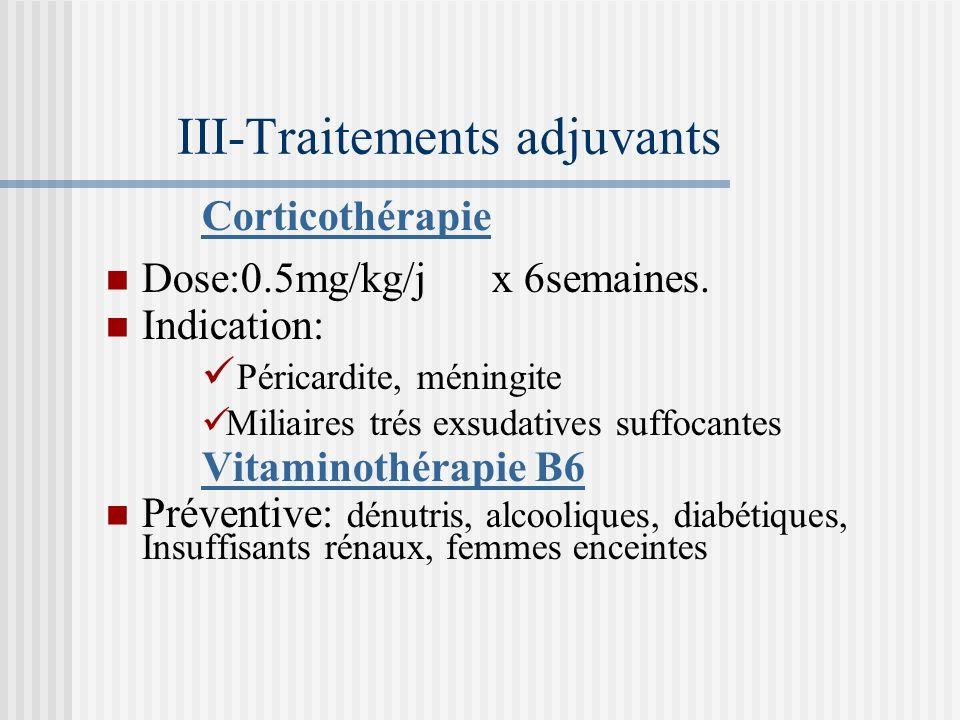 Interactions médicamenteuses 1. INH: Vit B6. Gels dalumine. 2. Rifampicine: inducteur enzymatique puissant. Augmenter les doses des médicaments métabo