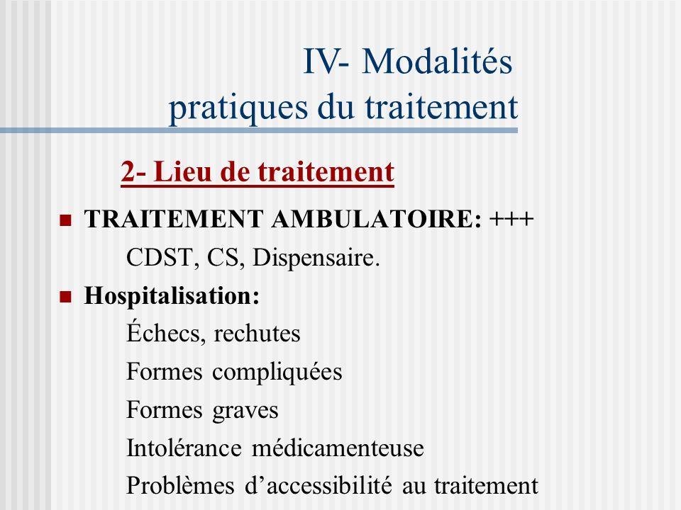 IV- Modalités pratiques du traitement 1- Règles du traitement Prise unique à jeun de tous les anti-bacillaires prescrits. Prise régulière des médicame