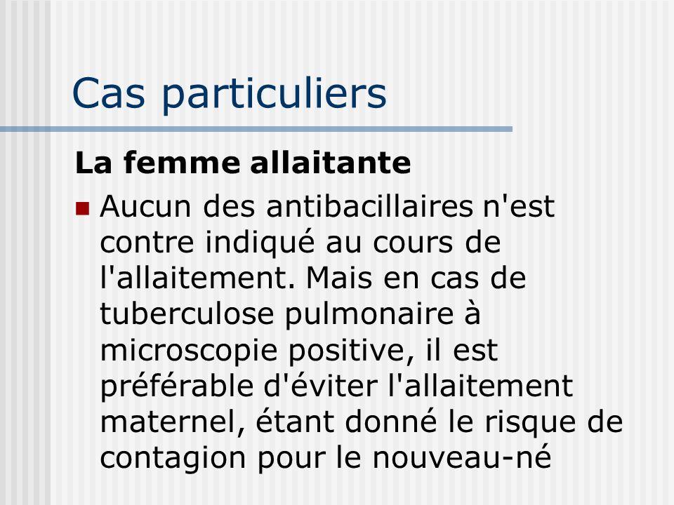 Cas particuliers En cas de grossesse Le traitement ne doit jamais être interrompu ou reporté La streptomycine à éviter en raison de son passage à trav
