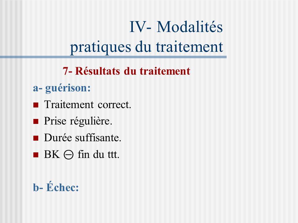 IV- Modalités pratiques du traitement 6- Supervision du traitement Première phase du traitement : Supervision totale Relance