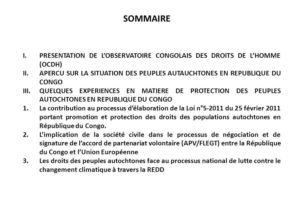 SOMMAIRE I.PRESENTATION DE LOBSERVATOIRE CONGOLAIS DES DROITS DE LHOMME (OCDH) II.APERCU SUR LA SITUATION DES PEUPLES AUTAUCHTONES EN REPUBLIQUE DU CO
