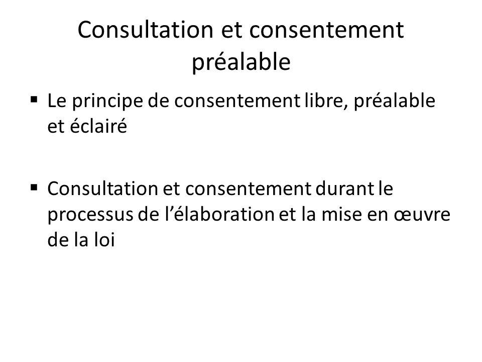 Consultation et consentement préalable Le principe de consentement libre, préalable et éclairé Consultation et consentement durant le processus de lél