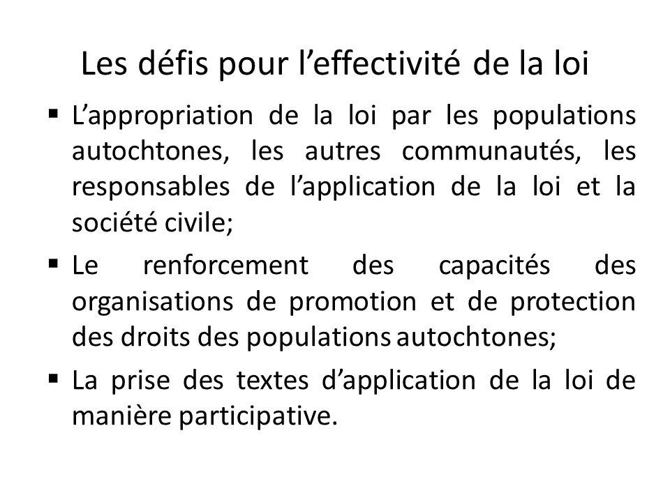 Les défis pour leffectivité de la loi Lappropriation de la loi par les populations autochtones, les autres communautés, les responsables de lapplicati