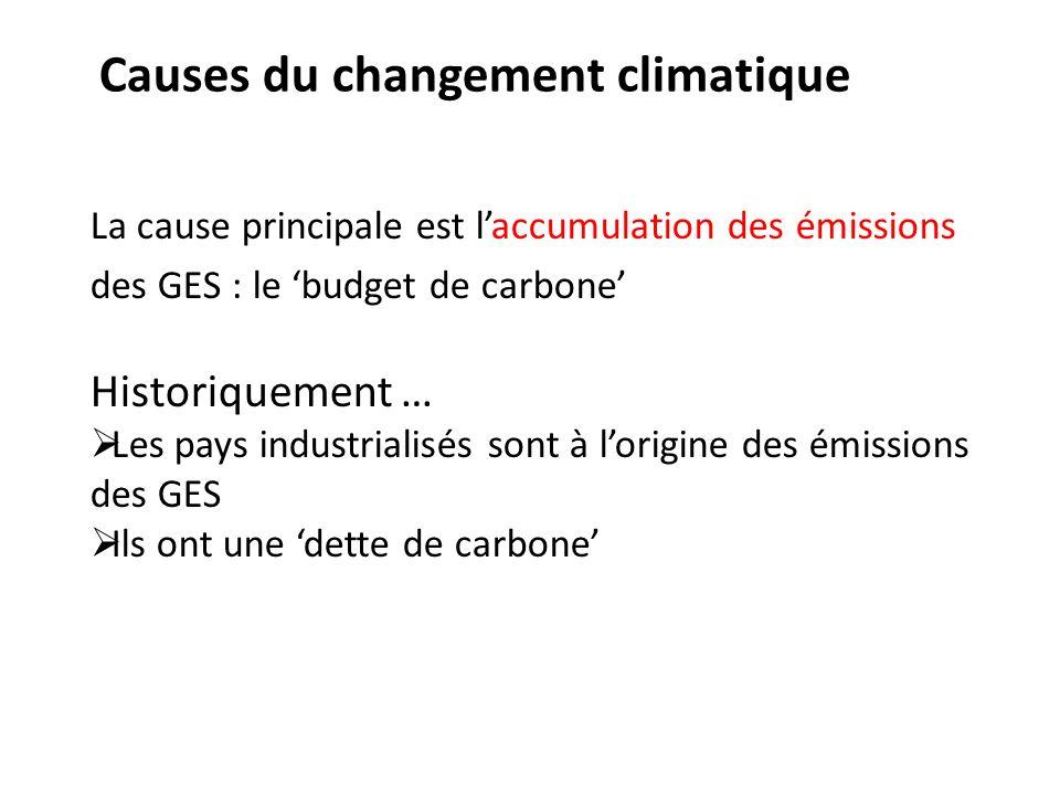La cause principale est laccumulation des émissions des GES : le budget de carbone Historiquement … Les pays industrialisés sont à lorigine des émissi