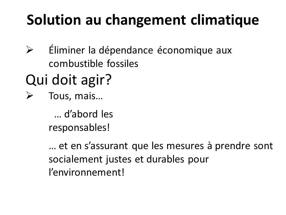 Solution au changement climatique Éliminer la dépendance économique aux combustible fossiles Qui doit agir? Tous, mais… … dabord les responsables! … e
