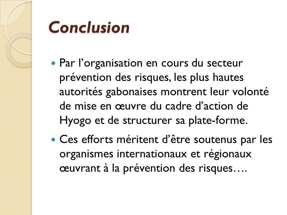 Conclusion Par lorganisation en cours du secteur prévention des risques, les plus hautes autorités gabonaises montrent leur volonté de mise en œuvre d