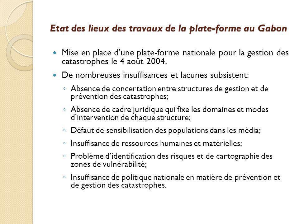 Etat des lieux des travaux de la plate-forme au Gabon Mise en place dune plate-forme nationale pour la gestion des catastrophes le 4 août 2004. De nom