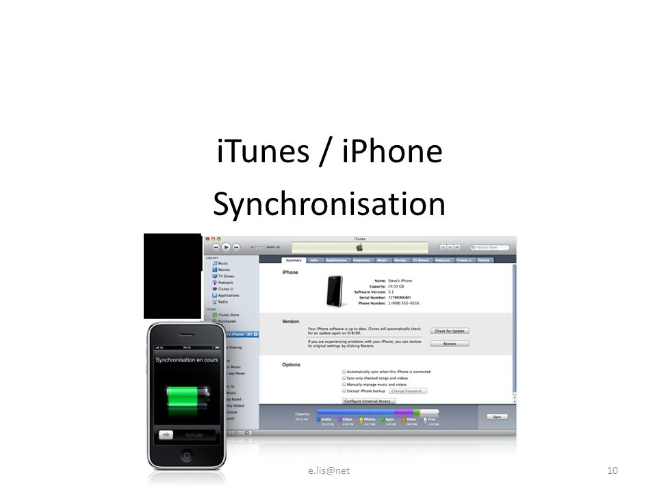 iTunes / iPhone Synchronisation e.lis@net10