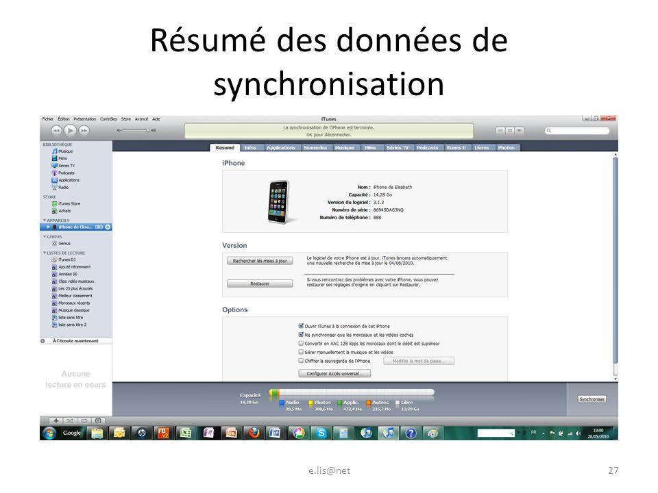 Résumé des données de synchronisation e.lis@net27