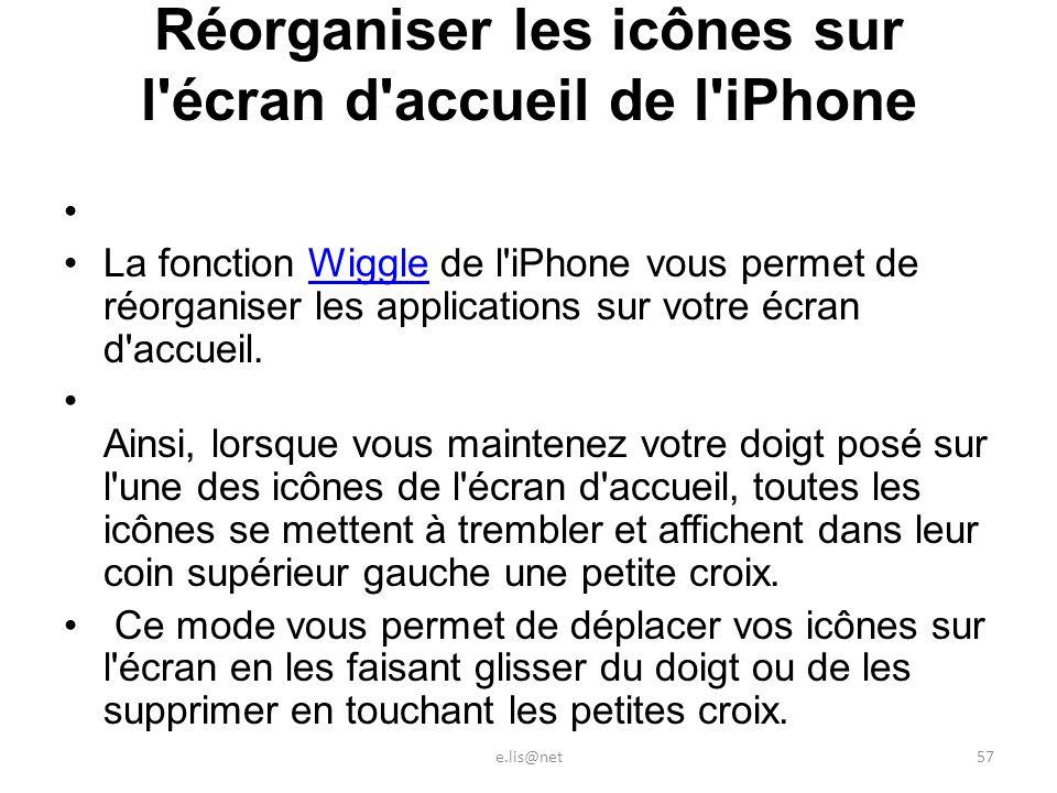 Réorganiser les icônes sur l écran d accueil de l iPhone La fonction Wiggle de l iPhone vous permet de réorganiser les applications sur votre écran d accueil.Wiggle Ainsi, lorsque vous maintenez votre doigt posé sur l une des icônes de l écran d accueil, toutes les icônes se mettent à trembler et affichent dans leur coin supérieur gauche une petite croix.