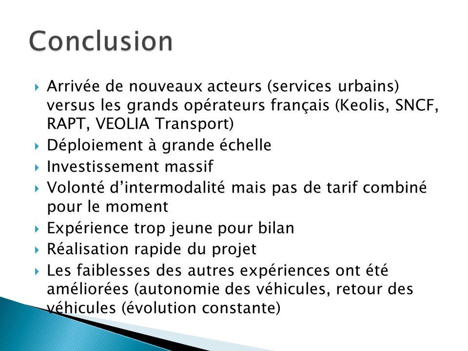 Arrivée de nouveaux acteurs (services urbains) versus les grands opérateurs français (Keolis, SNCF, RAPT, VEOLIA Transport) Déploiement à grande échel