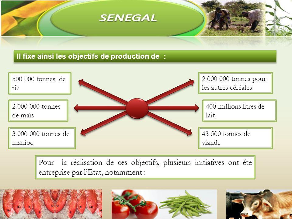 Il fixe ainsi les objectifs de production de : Pour la réalisation de ces objectifs, plusieurs initiatives ont été entreprise par lEtat, notamment : 500 000 tonnes de riz 2 000 000 tonnes de maïs 3 000 000 tonnes de manioc 2 000 000 tonnes pour les autres céréales 400 millions litres de lait 43 500 tonnes de viande