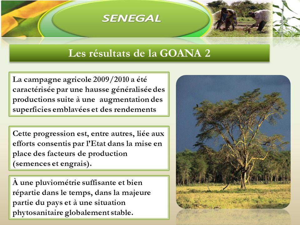 Les résultats de la GOANA 2 La campagne agricole 2009/2010 a été caractérisée par une hausse généralisée des productions suite à une augmentation des superficies emblavées et des rendements Cette progression est, entre autres, liée aux efforts consentis par lEtat dans la mise en place des facteurs de production (semences et engrais).