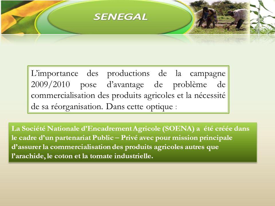 Limportance des productions de la campagne 2009/2010 pose davantage de problème de commercialisation des produits agricoles et la nécessité de sa réorganisation.