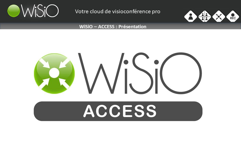 Votre cloud de visioconférence pro WiSiO – ACCESS: Présentation Le Service ACCESS POINT de WiSiO vous permet de créer des salles de réunion virtuelles sur laquelle viendront se connecter nimportes quels terminaux de visioconférence ( Hardware- type Codec, ou logiciel- type WiSiO Mobile ).