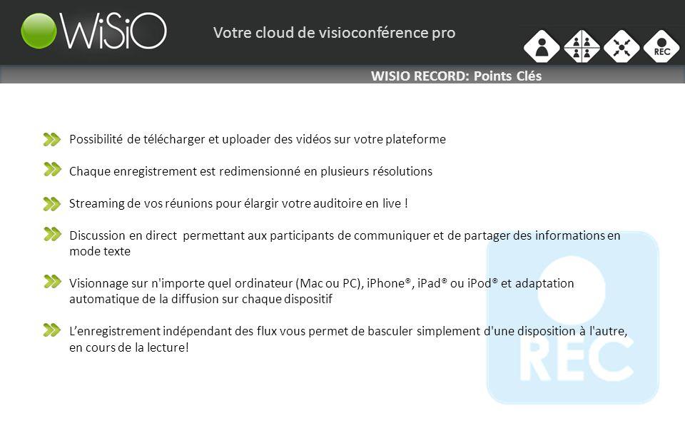 Votre cloud de visioconférence pro WISIO RECORD: Points Clés Possibilité de télécharger et uploader des vidéos sur votre plateforme Chaque enregistrement est redimensionné en plusieurs résolutions Streaming de vos réunions pour élargir votre auditoire en live .