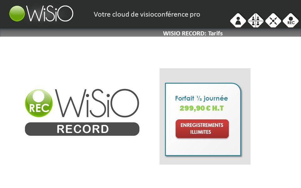 Votre cloud de visioconférence pro WISIO RECORD: Tarifs Forfait ½ journée 299,90 H.T ENREGISTREMENTS ILLIMITES