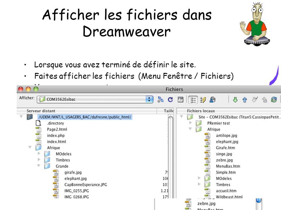 Afficher les fichiers dans Dreamweaver Lorsque vous avez terminé de définir le site. Faites afficher les fichiers (Menu Fenêtre / Fichiers) Vous pouve