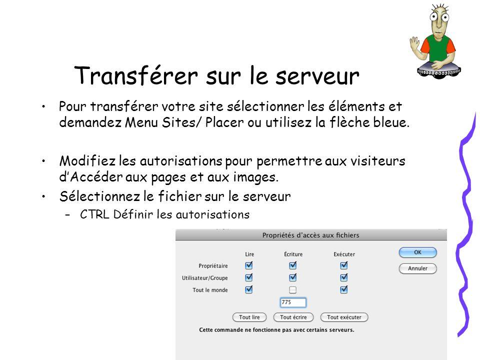 Transférer sur le serveur Pour transférer votre site sélectionner les éléments et demandez Menu Sites/ Placer ou utilisez la flèche bleue.