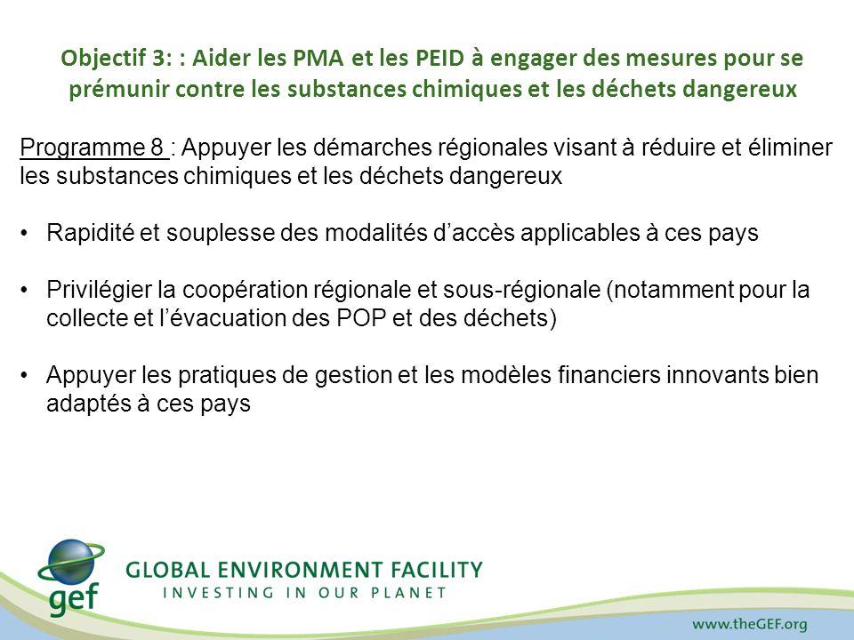 Objectif 3: : Aider les PMA et les PEID à engager des mesures pour se prémunir contre les substances chimiques et les déchets dangereux Programme 8 : Appuyer les démarches régionales visant à réduire et éliminer les substances chimiques et les déchets dangereux Rapidité et souplesse des modalités daccès applicables à ces pays Privilégier la coopération régionale et sous-régionale (notamment pour la collecte et lévacuation des POP et des déchets) Appuyer les pratiques de gestion et les modèles financiers innovants bien adaptés à ces pays