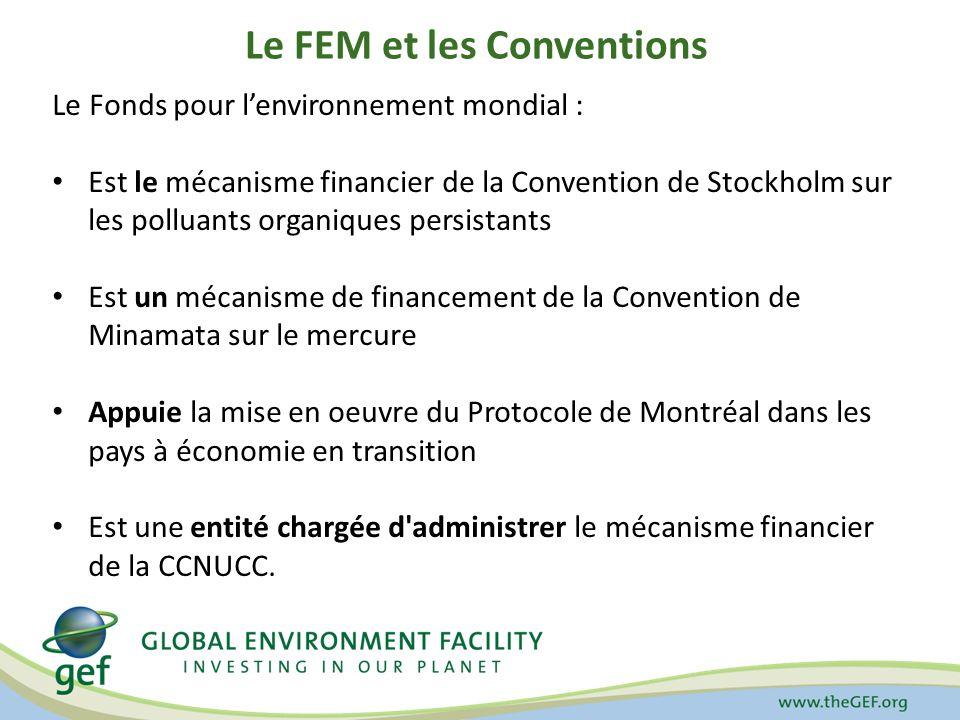 Le FEM et les Conventions Le Fonds pour lenvironnement mondial : Est le mécanisme financier de la Convention de Stockholm sur les polluants organiques persistants Est un mécanisme de financement de la Convention de Minamata sur le mercure Appuie la mise en oeuvre du Protocole de Montréal dans les pays à économie en transition Est une entité chargée d administrer le mécanisme financier de la CCNUCC.
