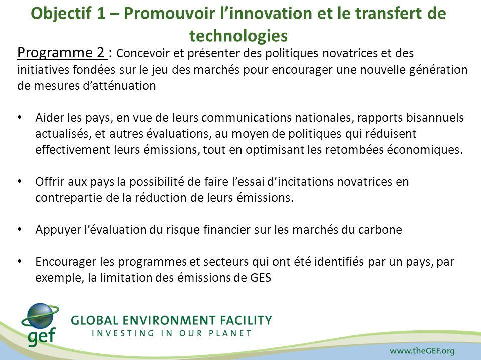 Objectif 1 – Promouvoir linnovation et le transfert de technologies Programme 2 : Concevoir et présenter des politiques novatrices et des initiatives