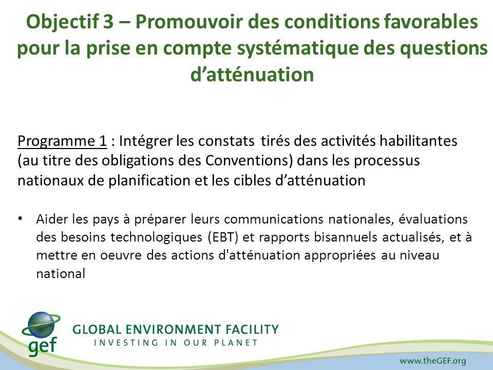 Objectif 3 – Promouvoir des conditions favorables pour la prise en compte systématique des questions datténuation Programme 1 : Intégrer les constats