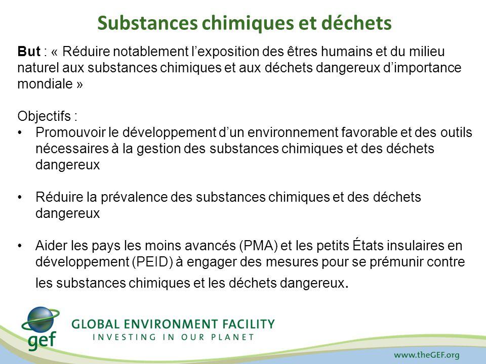 Substances chimiques et déchets But : « Réduire notablement lexposition des êtres humains et du milieu naturel aux substances chimiques et aux déchets