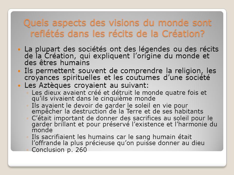 Quels aspects des visions du monde sont reflétés dans les récits de la Création.