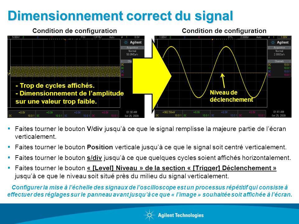 Dimensionnement correct du signal Faites tourner le bouton V/div jusquà ce que le signal remplisse la majeure partie de lécran verticalement. Faites t