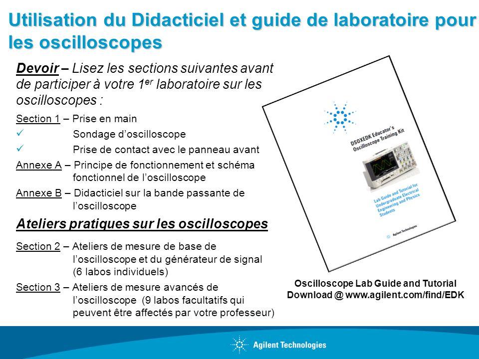 Utilisation du Didacticiel et guide de laboratoire pour les oscilloscopes Devoir – Lisez les sections suivantes avant de participer à votre 1 er labor