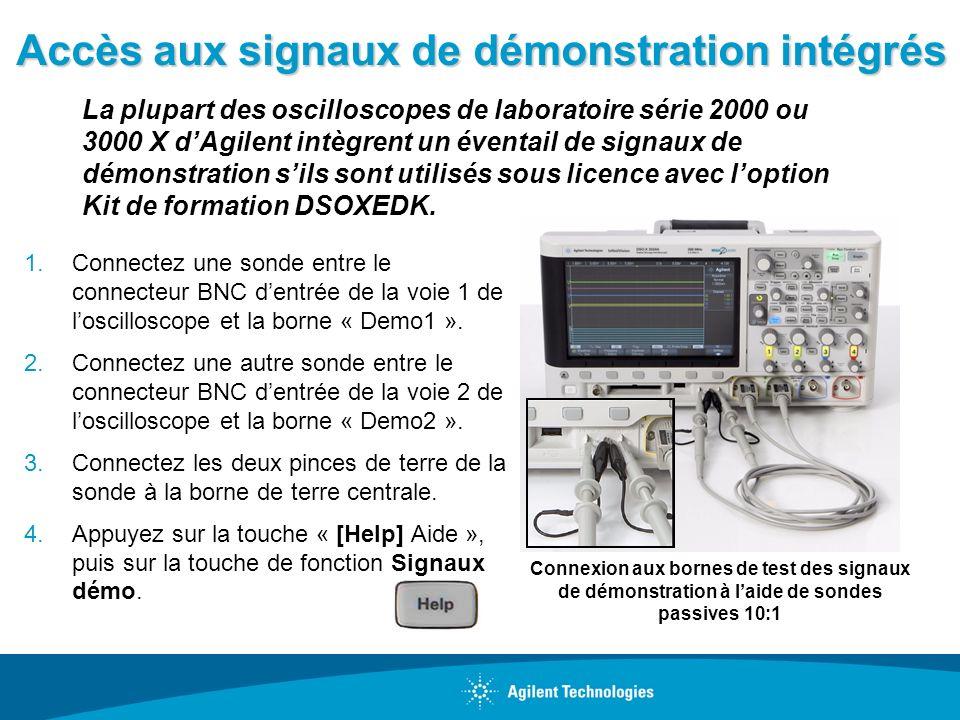 Accès aux signaux de démonstration intégrés 1.Connectez une sonde entre le connecteur BNC dentrée de la voie 1 de loscilloscope et la borne « Demo1 ».