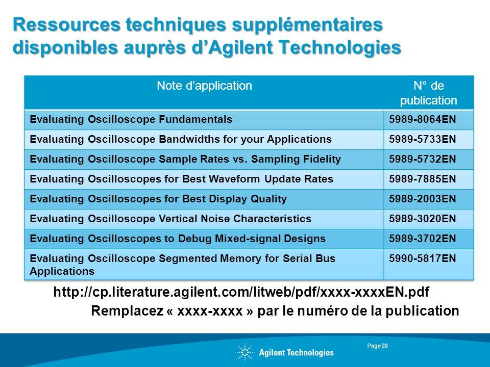 Ressources techniques supplémentaires disponibles auprès dAgilent Technologies Page 28 http://cp.literature.agilent.com/litweb/pdf/xxxx-xxxxEN.pdf Rem