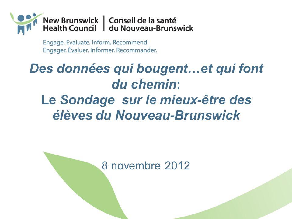 Des données qui bougent…et qui font du chemin: Le Sondage sur le mieux-être des élèves du Nouveau-Brunswick 8 novembre 2012