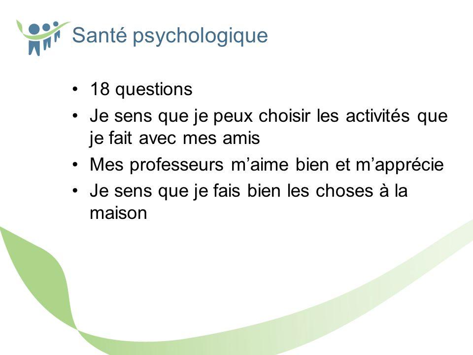 Santé psychologique 18 questions Je sens que je peux choisir les activités que je fait avec mes amis Mes professeurs maime bien et mapprécie Je sens que je fais bien les choses à la maison