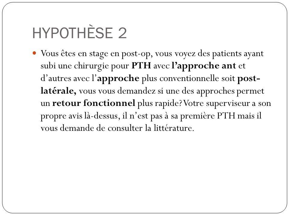 HYPOTHÈSE 2 Vous êtes en stage en post-op, vous voyez des patients ayant subi une chirurgie pour PTH avec lapproche ant et dautres avec lapproche plus conventionnelle soit post- latérale, vous vous demandez si une des approches permet un retour fonctionnel plus rapide.