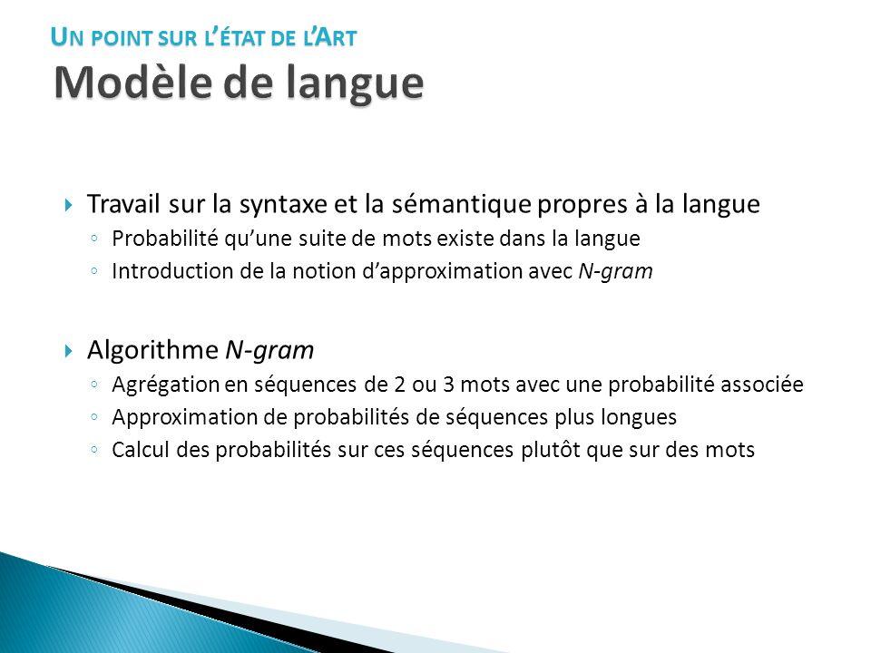 Travail sur la syntaxe et la sémantique propres à la langue Probabilité quune suite de mots existe dans la langue Introduction de la notion dapproxima