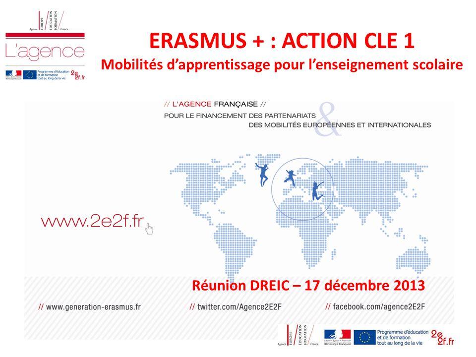 ERASMUS + : ACTION CLE 1 Mobilités dapprentissage pour lenseignement scolaire Réunion DREIC – 17 décembre 2013