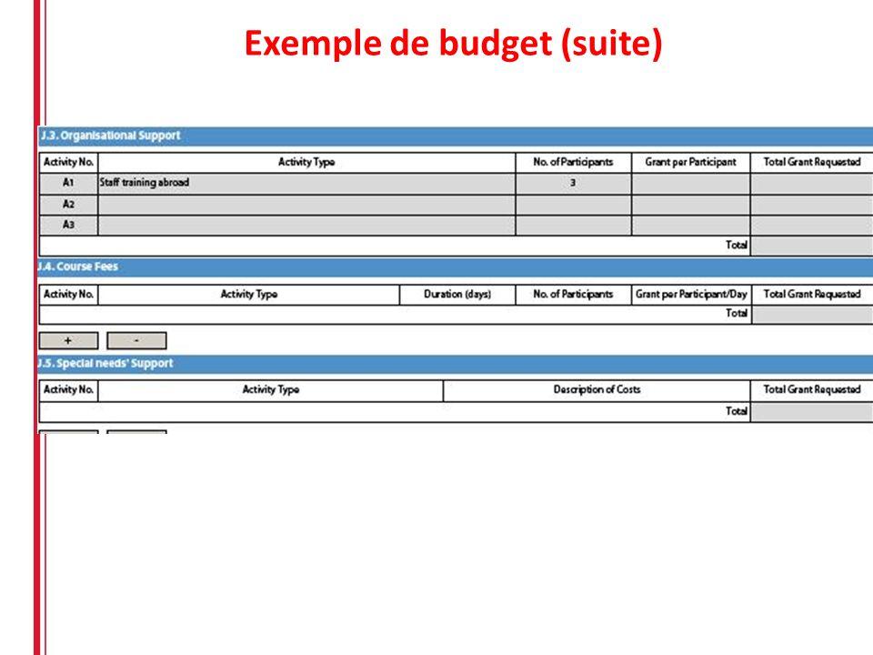 Exemple de budget (suite)