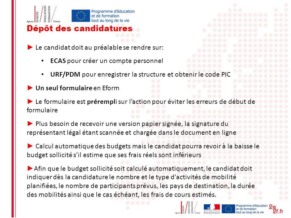 Dépôt des candidatures Le candidat doit au préalable se rendre sur: ECAS pour créer un compte personnel URF/PDM pour enregistrer la structure et obten