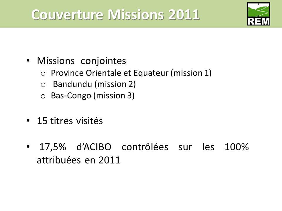 Couverture Missions 2011 Missions conjointes o Province Orientale et Equateur (mission 1) o Bandundu (mission 2) o Bas-Congo (mission 3) 15 titres visités 17,5% dACIBO contrôlées sur les 100% attribuées en 2011