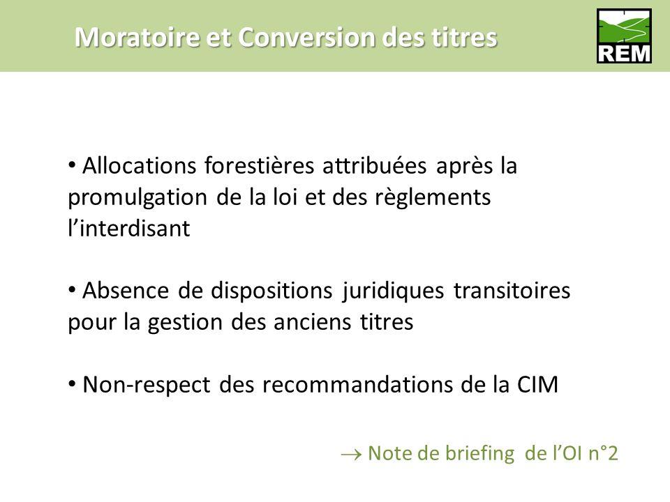 Moratoire et Conversion des titres Allocations forestières attribuées après la promulgation de la loi et des règlements linterdisant Absence de dispos