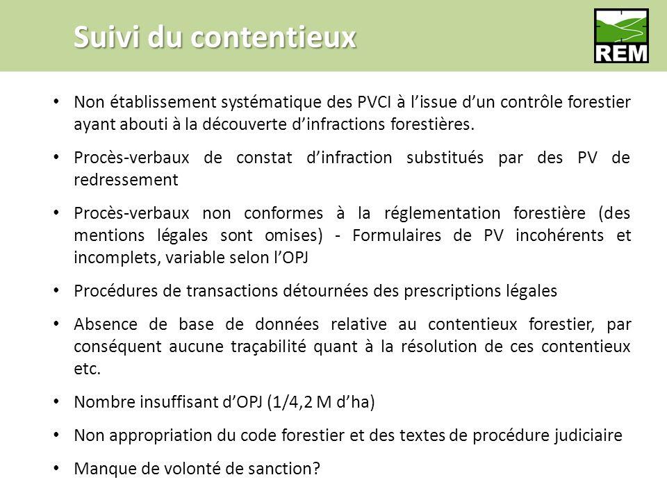 Suivi du contentieux Non établissement systématique des PVCI à lissue dun contrôle forestier ayant abouti à la découverte dinfractions forestières.