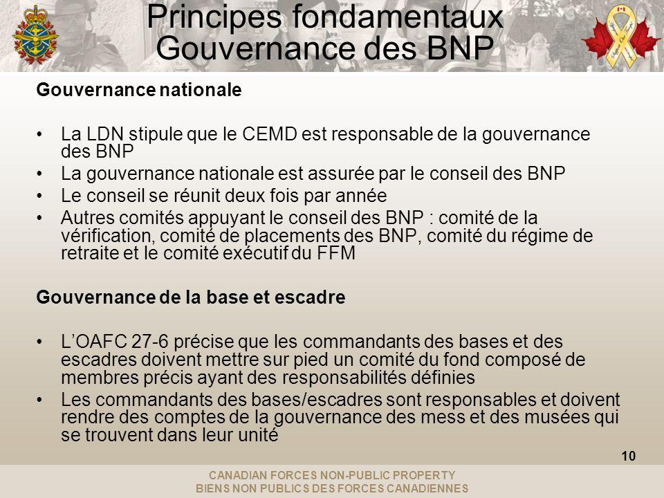 CANADIAN FORCES NON-PUBLIC PROPERTY BIENS NON PUBLICS DES FORCES CANADIENNES Principes fondamentaux Gouvernance des BNP Gouvernance nationale La LDN stipule que le CEMD est responsable de la gouvernance des BNP La gouvernance nationale est assurée par le conseil des BNP Le conseil se réunit deux fois par année Autres comités appuyant le conseil des BNP : comité de la vérification, comité de placements des BNP, comité du régime de retraite et le comité exécutif du FFM Gouvernance de la base et escadre LOAFC 27-6 précise que les commandants des bases et des escadres doivent mettre sur pied un comité du fond composé de membres précis ayant des responsabilités définies Les commandants des bases/escadres sont responsables et doivent rendre des comptes de la gouvernance des mess et des musées qui se trouvent dans leur unité 10