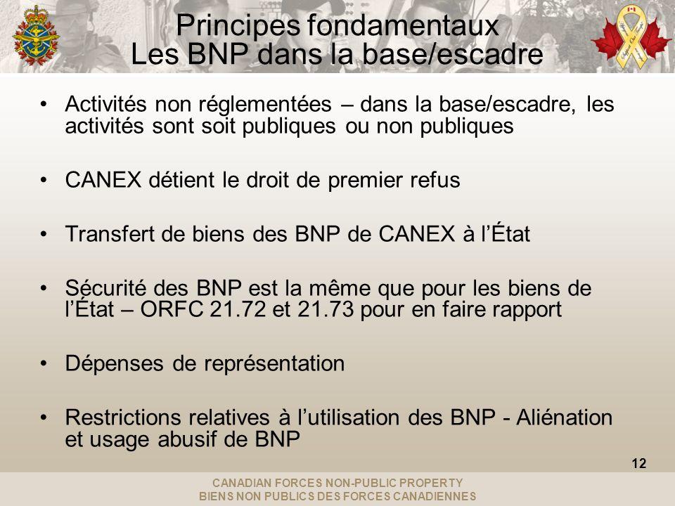 CANADIAN FORCES NON-PUBLIC PROPERTY BIENS NON PUBLICS DES FORCES CANADIENNES Principes fondamentaux Les BNP dans la base/escadre Activités non réglementées – dans la base/escadre, les activités sont soit publiques ou non publiques CANEX détient le droit de premier refus Transfert de biens des BNP de CANEX à lÉtat Sécurité des BNP est la même que pour les biens de lÉtat – ORFC 21.72 et 21.73 pour en faire rapport Dépenses de représentation Restrictions relatives à lutilisation des BNP - Aliénation et usage abusif de BNP 12