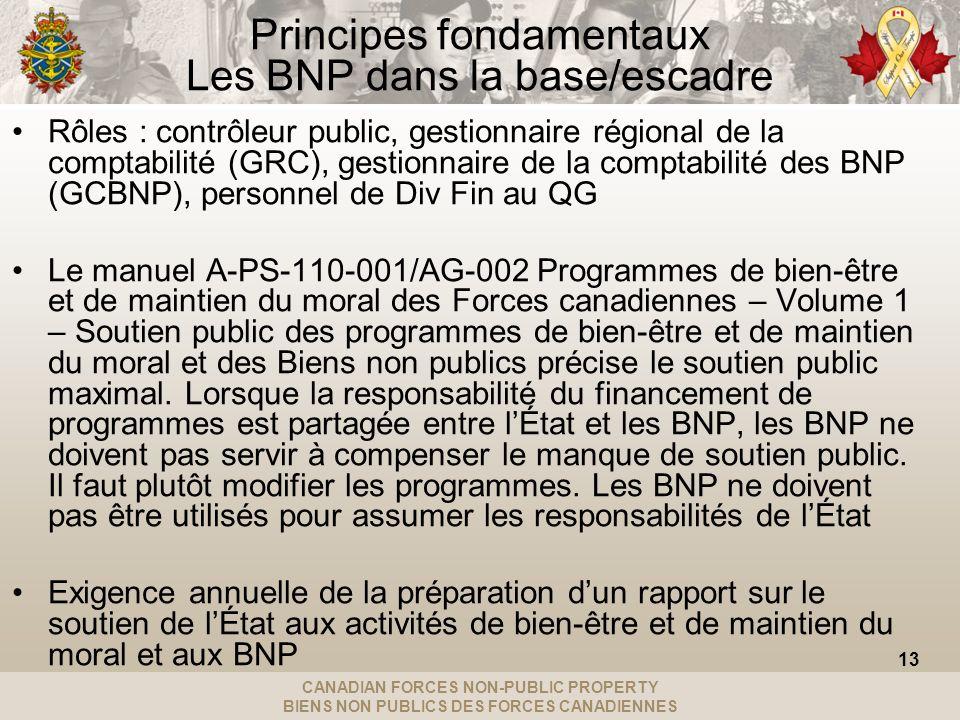 CANADIAN FORCES NON-PUBLIC PROPERTY BIENS NON PUBLICS DES FORCES CANADIENNES Principes fondamentaux Les BNP dans la base/escadre Rôles : contrôleur public, gestionnaire régional de la comptabilité (GRC), gestionnaire de la comptabilité des BNP (GCBNP), personnel de Div Fin au QG Le manuel A-PS-110-001/AG-002 Programmes de bien-être et de maintien du moral des Forces canadiennes – Volume 1 – Soutien public des programmes de bien-être et de maintien du moral et des Biens non publics précise le soutien public maximal.