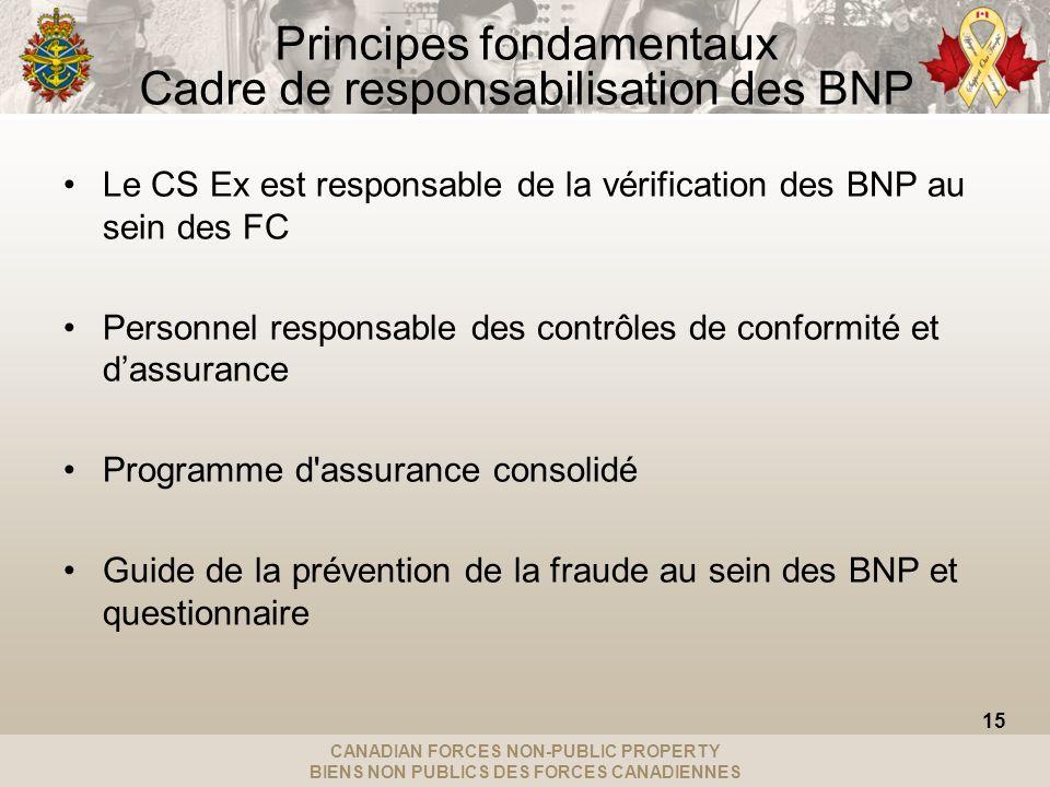 CANADIAN FORCES NON-PUBLIC PROPERTY BIENS NON PUBLICS DES FORCES CANADIENNES Principes fondamentaux Cadre de responsabilisation des BNP Le CS Ex est r