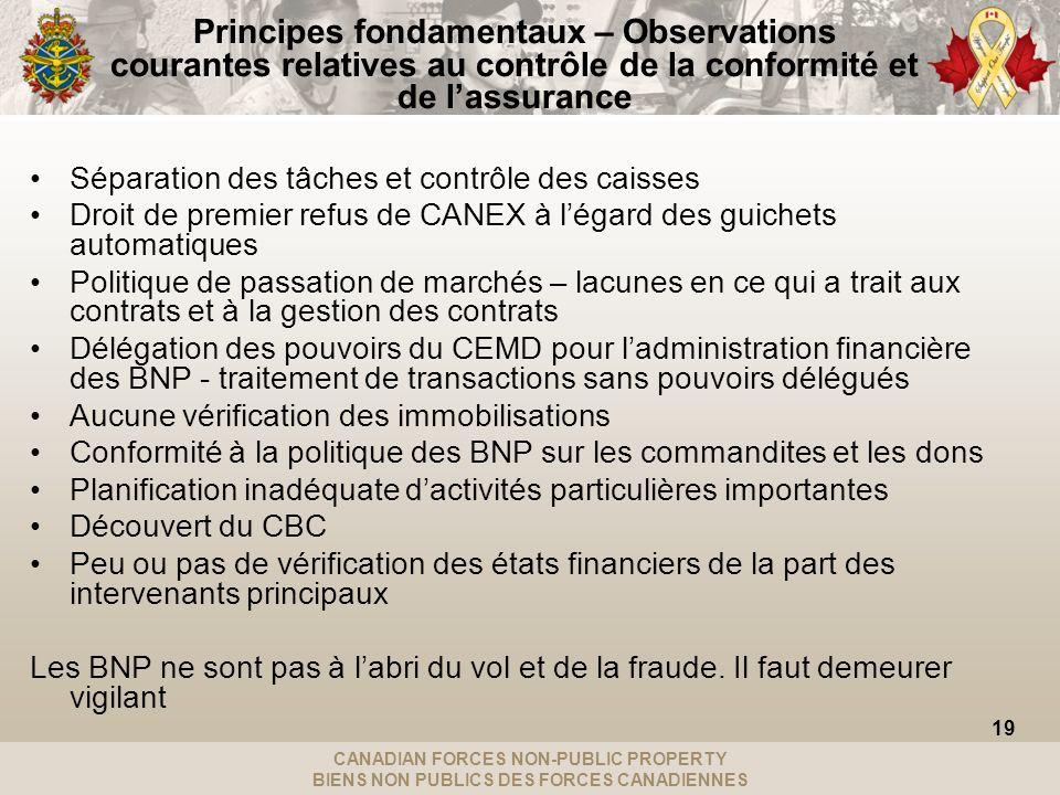CANADIAN FORCES NON-PUBLIC PROPERTY BIENS NON PUBLICS DES FORCES CANADIENNES Principes fondamentaux – Observations courantes relatives au contrôle de