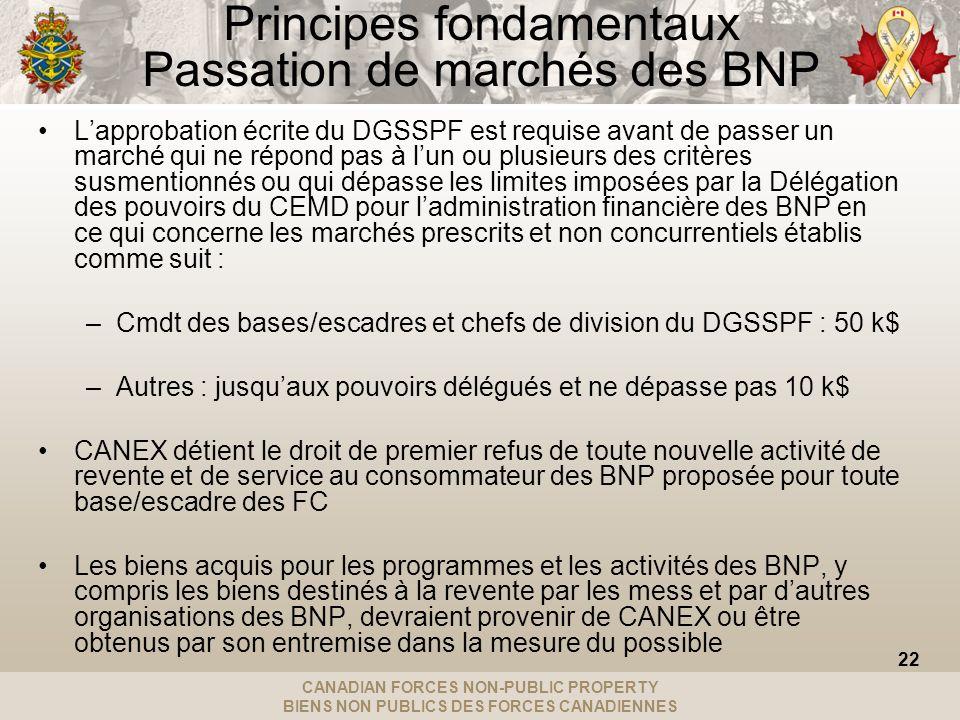 CANADIAN FORCES NON-PUBLIC PROPERTY BIENS NON PUBLICS DES FORCES CANADIENNES Principes fondamentaux Passation de marchés des BNP Lapprobation écrite d